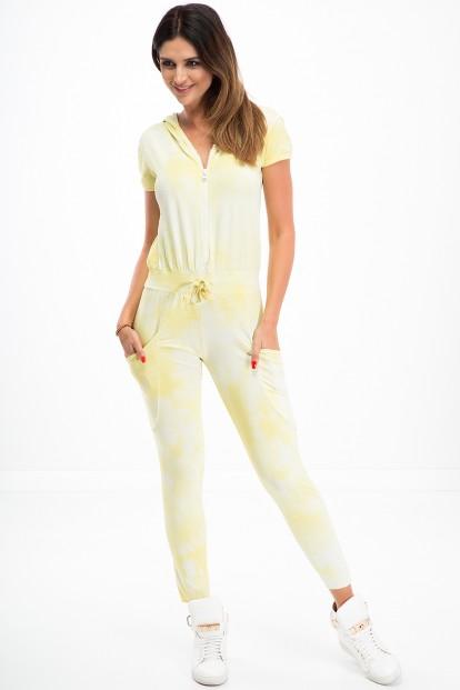 Bavlnený, moderný overal s krátkym rukávom, žltý