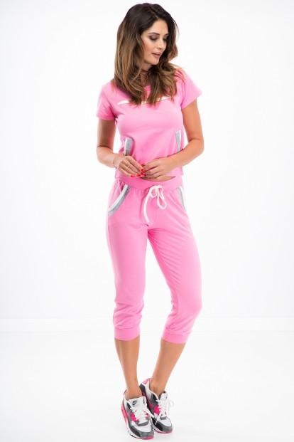 Krásna súprava trička a 3/4 nohavíc, ružová
