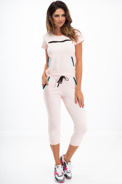 Krásna súprava trička a 3/4 nohavíc, svetloružová