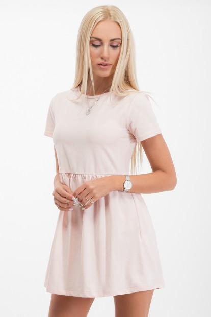 Ružové šaty s krátkym rukávom a áčkovou sukňou