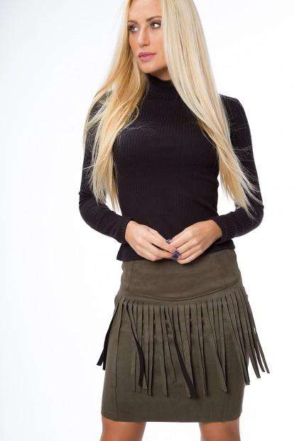 Moderná, krátka sukňa so strapcami, kaki