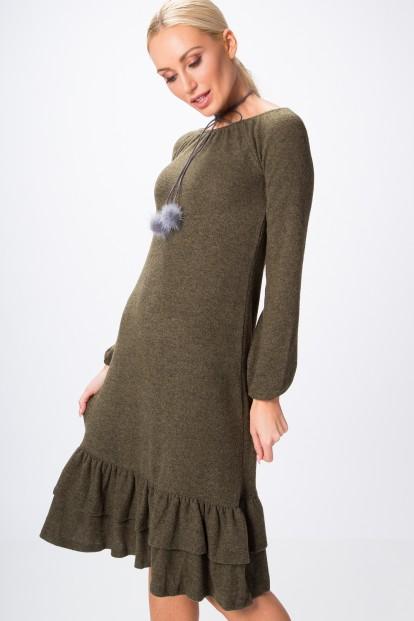 Šaty so zvonovou sukňou ozdobenou jemnými volánmi na spodnom okraji, kaki