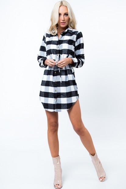 Šaty v štýle károvanej košele, čierna/biela