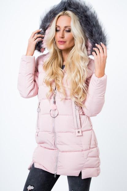 Prešívaná, zimná bunda s odnímateľnou kožušinou, ružová