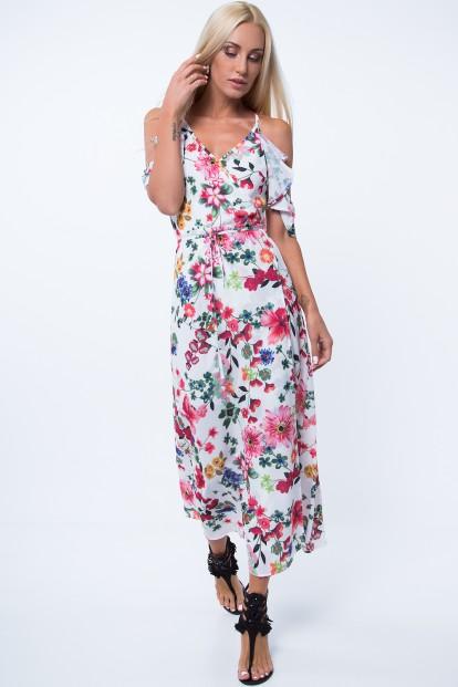 Biele šaty s farebnými kvetmi