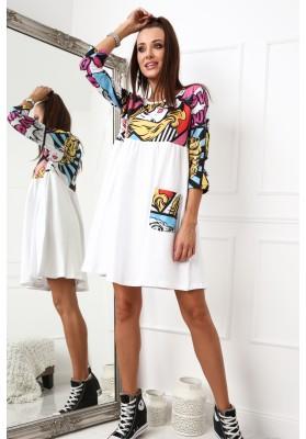 Bavlnené šaty s komixovým topom, biele