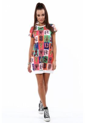 Extra moderné šaty s ozdobnými farebnými písmenami, biele