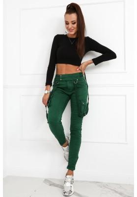 Nohavice s nastaviteľnými textilnými pásikmi, zelené