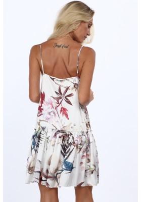 Vzdušné letné šaty s kvetinovými motívmi, krémovoružové