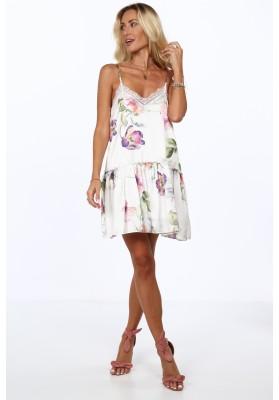 Vzdušné letné šaty s kvetinovými motívmi, krémovofialová