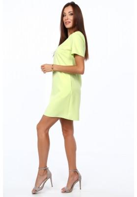 Elegantné šaty v klasickom štýle s polkruhovým výstrihom, limetkové