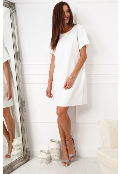 Elegantné šaty v klasickom štýle s polkruhovým výstrihom, krémové