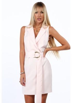 Elegantné, krátke šaty s golierom a výstrihom tvaru V, svetloružové