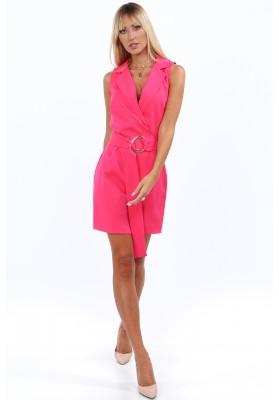Elegantné, krátke šaty s golierom a výstrihom tvaru V, ružové