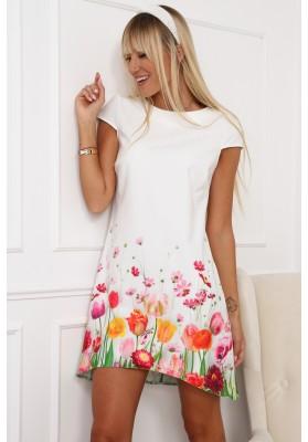Elegantné, moderné šaty s polkruhovým výstrihom, krémovoružové