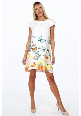 Elegantné, moderné šaty s polkruhovým výstrihom, krémovomodré