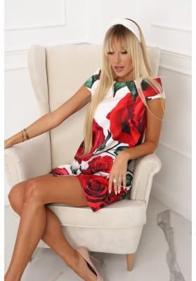 Elegantné, moderné šaty s polkruhovým výstrihom, krémovočervené