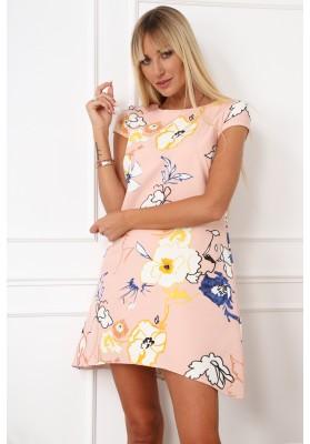 Elegantné, moderné šaty s polkruhovým výstrihom, púdrové