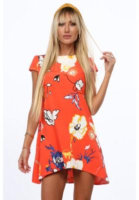 Elegantné, moderné šaty s polkruhovým výstrihom, oranžové