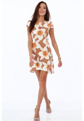 Elegantné, moderné šaty s polkruhovým výstrihom, hnedé