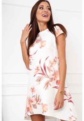 Elegantné, moderné šaty s polkruhovým výstrihom, krémovobroskyňové