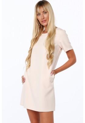 Elegantné šaty v klasickom štýle s polkruhovým výstrihom, béžové