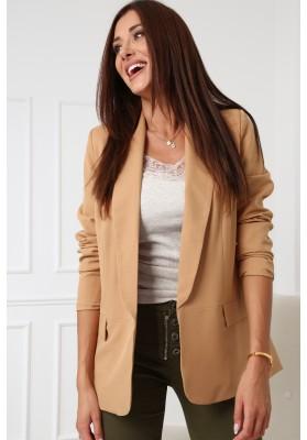 Štýlová dámska bunda s valcovaným golierom na výstrihu, kapučínová