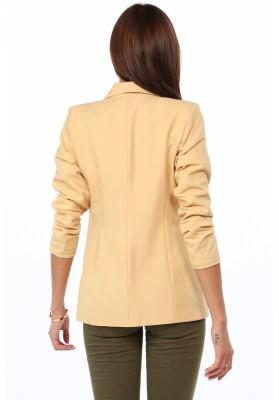 Štýlové dámske sako s golierom na výstrihu, horčicová