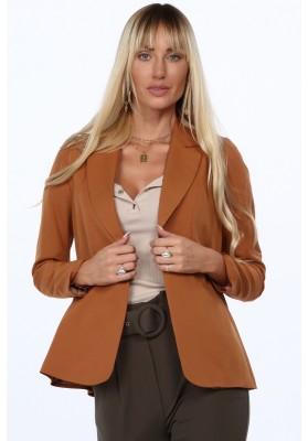 Štýlové dámske sako s golierom na výstrihu, hnedá
