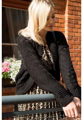 Dámsky bombový sveter s klasickým pleteným vzorom, čierny