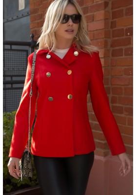 Elegantný dámsky kabát s dvoma radmi zlatých gombíkov, červený