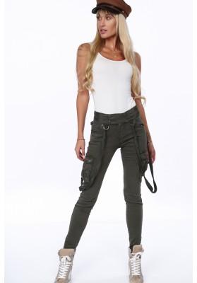 Nohavice s nastaviteľnými textilnými pásikmi, khaki