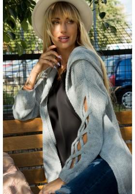 Voľný oversize sveter s prepletaným vzorom na rukávoch , sivý