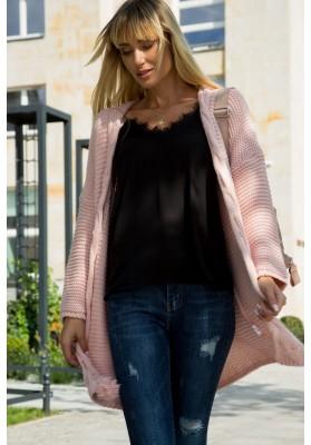 Dámsky sveter voľného strihu so zaviazaným strapcom, ružový