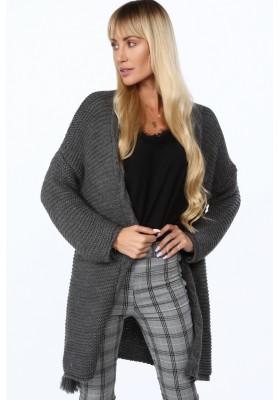 Dámsky sveter voľného strihu so zaviazaným strapcom, šedý