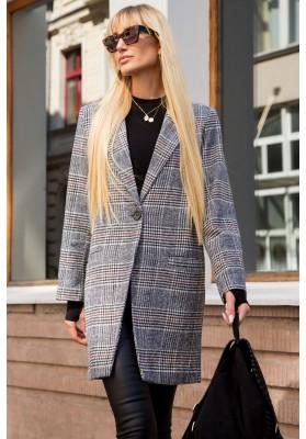 Klasický tmavošedý károvaný kabát s výstrihom a golierom