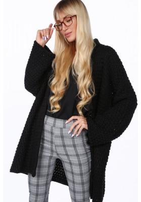 Voľný, pohodlný sveter so širokými rukávmi, čierny
