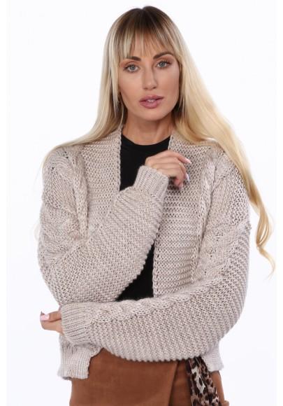Dámsky bombový sveter s klasickým pleteným vzorom, béžový