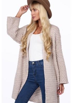 Voľný, pohodlný sveter so širokými rukávmi, béžový