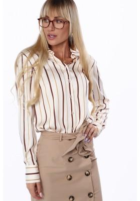 Elegantné, svetlobéžové dámske tričko s pruhmi