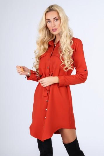 Červenkasté košeľové dámske šaty