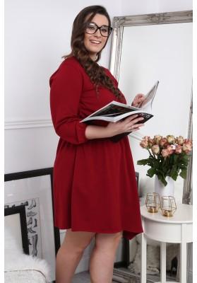 Asymetrické štýlové šaty s okrúhlym výstrihom, bordové