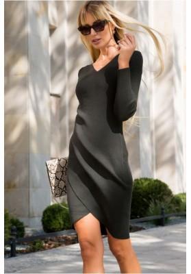 Moderné šaty asymetrického strihu a moderným zvlnením, zelené