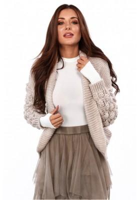 Štýlový, krátky sveter s dlhými rukávmi a nádherným vzorom, béžový