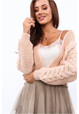 Dámsky bombový sveter s klasickým pleteným vzorom, púdrový