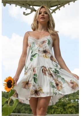 Vzdušné letné šaty s kvetinovými motívmi, krémovohnedé