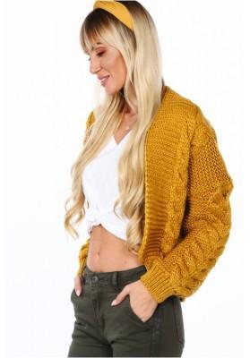 Dámsky bombový sveter s klasickým pleteným vzorom, horčicový
