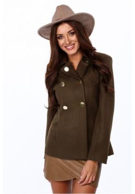 Elegantný dámsky kabát s dvoma radmi zlatých gombíkov, zelený