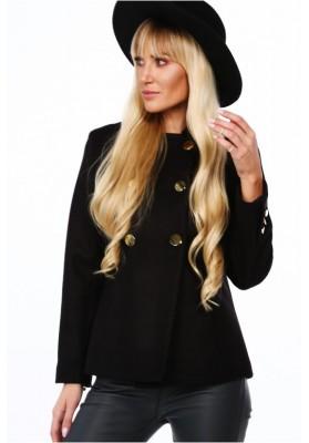 Elegantný dámsky kabát s dvoma radmi zlatých gombíkov, čierny