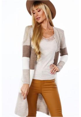 Teplý dámsky sveter s modernými pruhmi, béžová/kapučínová